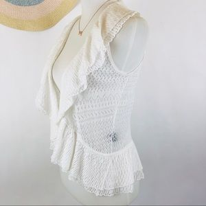 Ralph Lauren white linen sleeveless cardigan